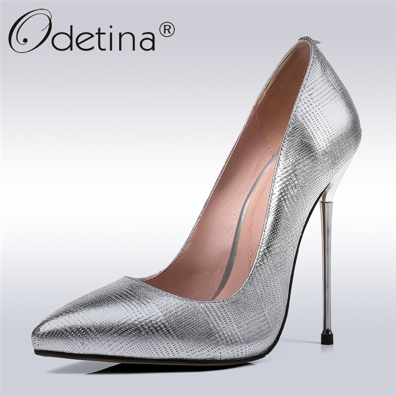 Odetina 2018 New Fashion Women Genuine Leather Pumps Extreme High Heel Slip On Shoes Stiletto Heels Pointed Toe Pump Big Size 45 odetina 2017 new women 12 cm gradient heels slip on extreme high heel stiletto pumps sexy party shoes pointed toe big size 33 43