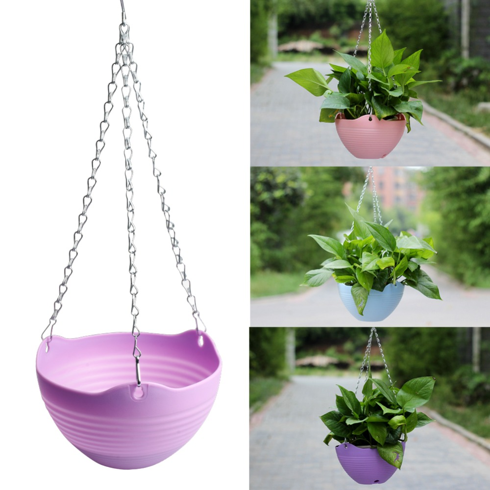 Flexible Chain Plastic Planter Basket Garden Home Decoration Hanging ...
