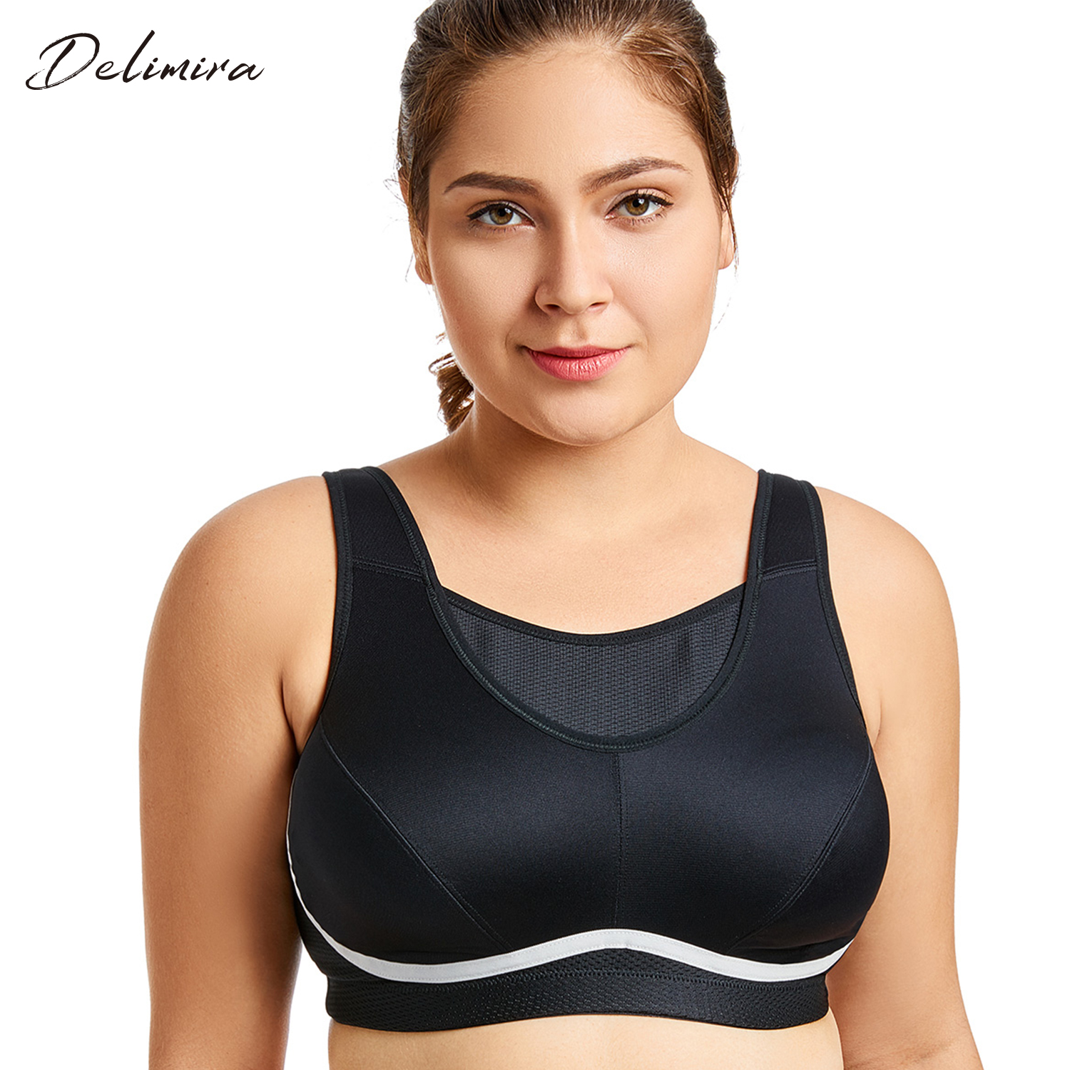 Women's Plus Size High Impact No-Bounce Full Coverage Wire Free Exercise <font><b>Bra</b></font>