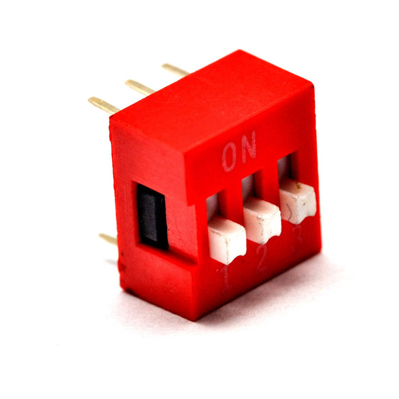 Free shipping toggle switch 3P 2.54mm pitch flat dial red DIP switch coding switch