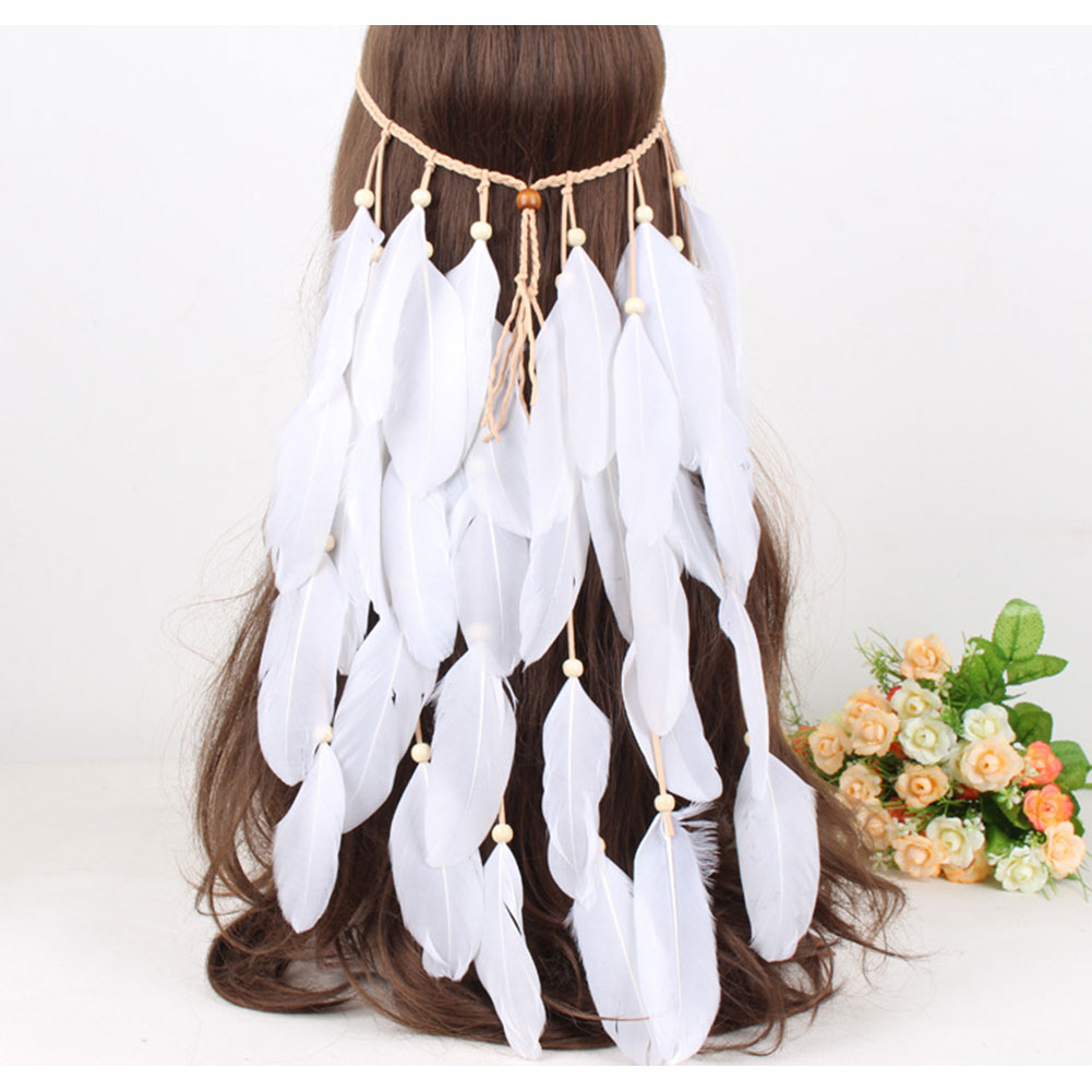 White Feather Headdress Bohemian Bride Feather Hair Accessories Head Band For Women Wedding Halloween Party