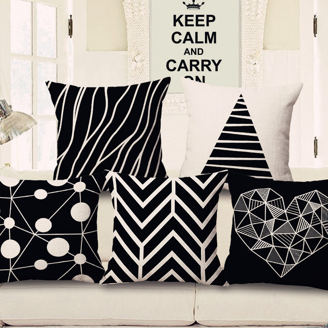 Zxzxoon Nordic Bantal Cover Hitam Putih Geometris Rumah Bantal Sofa