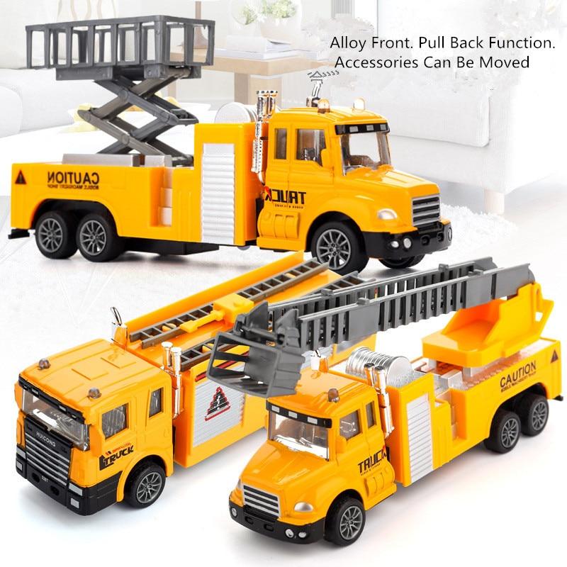 Alliage tirer vers l'arrière ingénierie véhicule camion de pompier véhicule de sauvetage Simulation musique résistance Anti-collision 1:100