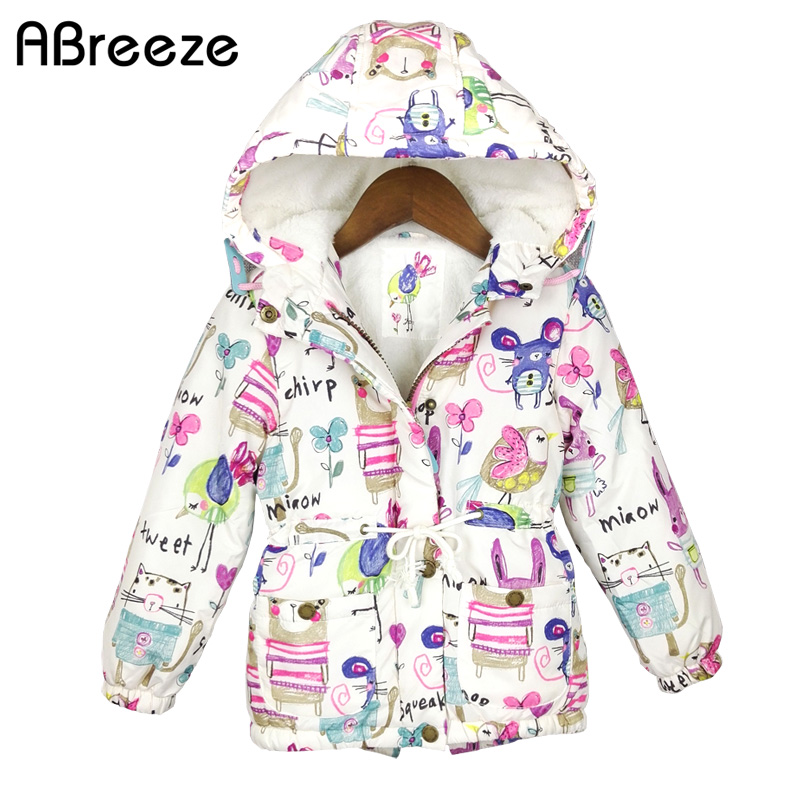2017 New Winter children clothing Graffiti Parkas style warm girls jackets & coats 2-8T Hooded Baby Girl Outerwear & parkas 2016 new winter children clothing cute graffiti animals girl parka warm girls jackets