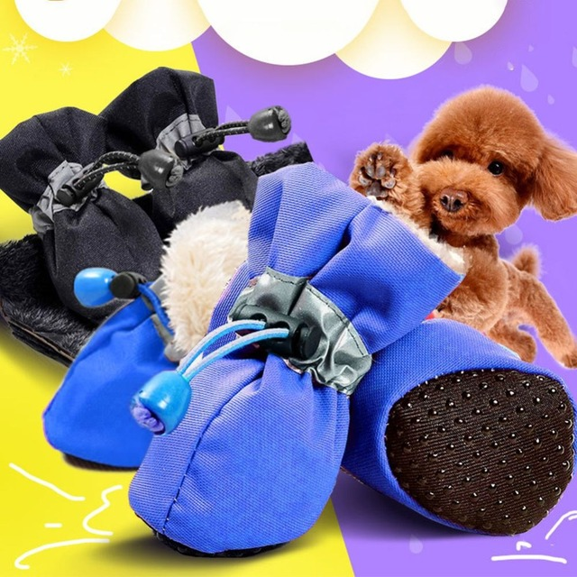 4pcs/set Pet Dog Shoes Puppy Winter Waterproof Anti-slip Rain Snow Boots Footwear Thick Warm For Small Cats Dogs Socks Booties 2