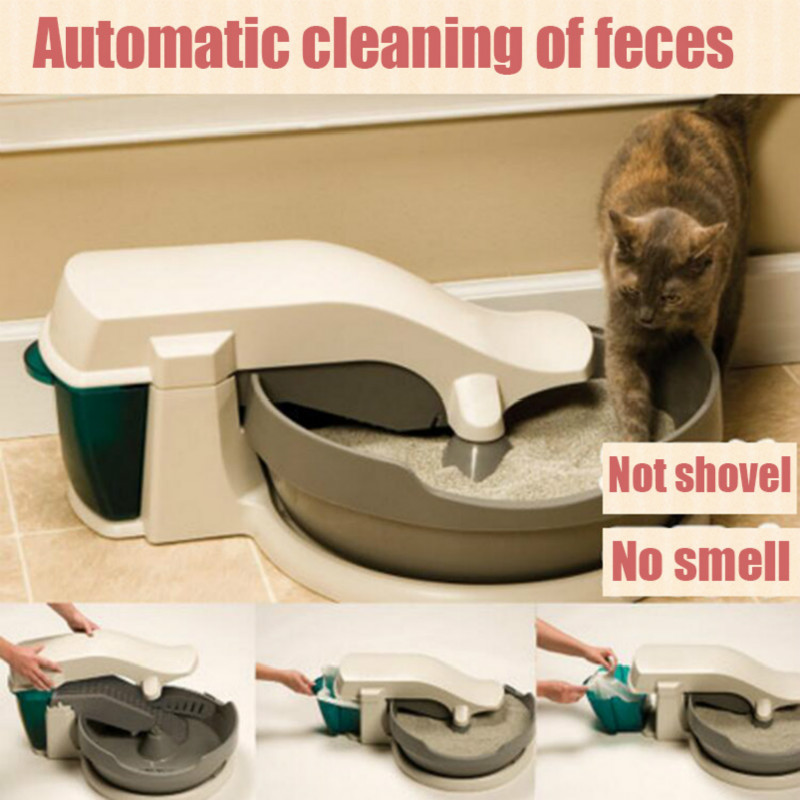 Electric Cat Toilet Automatic Cleaning Cats Dung Semi-closed Litter Plastic Potty Mascotas Cat Litter Box Toilet Pet Supplies 翻轉 貓 砂 盆