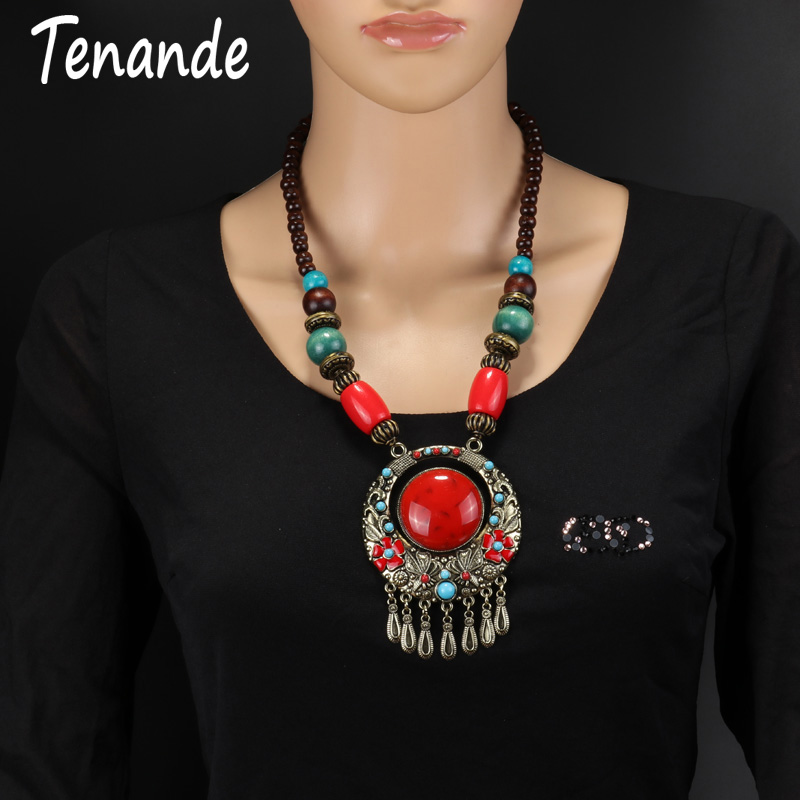 Tenande Classic Ethnic Long Vintage Tassel Pendant Necklaces Bohemia Natural Stones Flower Statement Necklaces for Women Jewelry 60pcs lot 2017 retro key dry flower necklace natural wheat flower glass ball pendant jewelry accessory butterfly necklaces