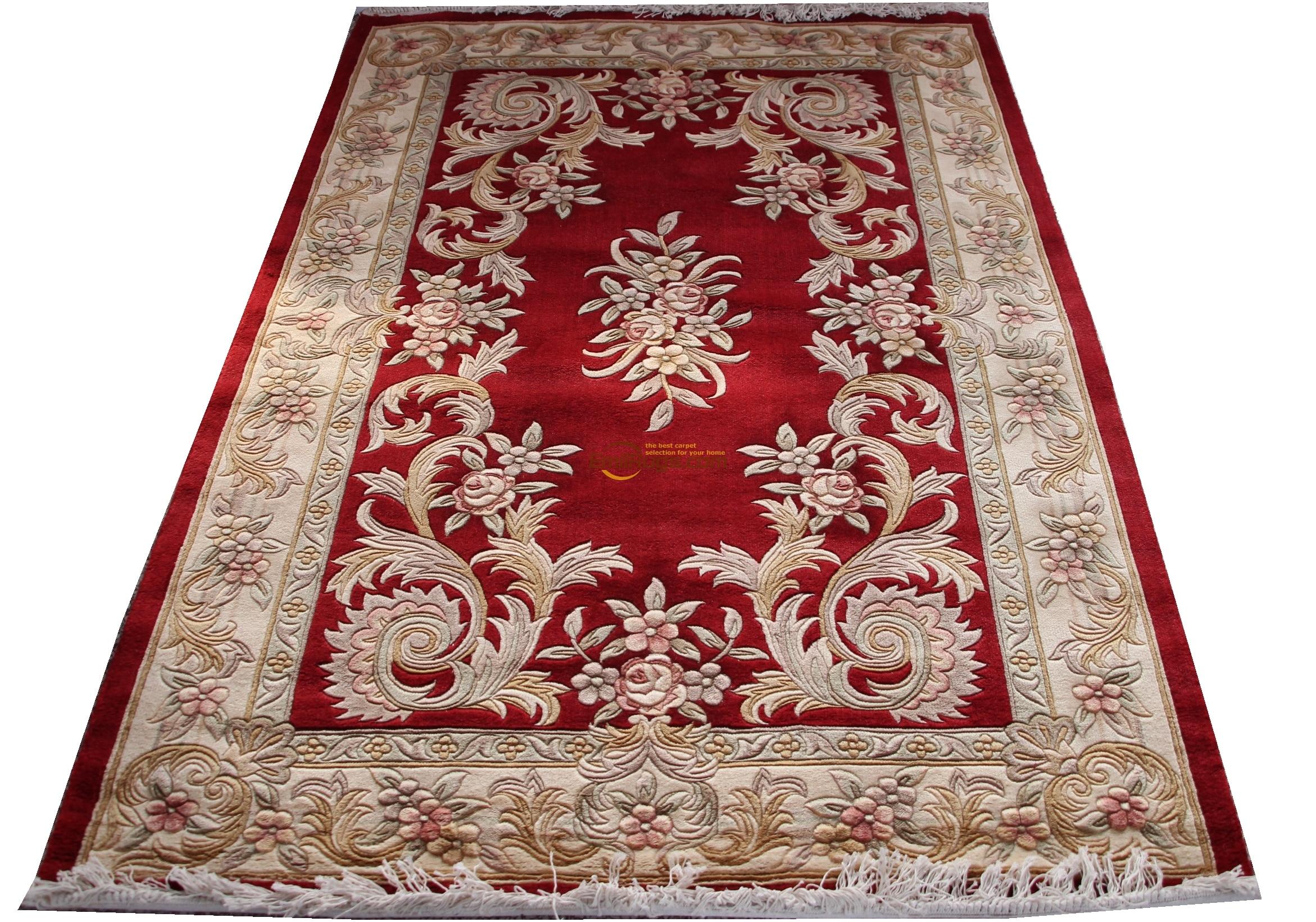 Tapis français en viscose sur tapis de Savonnerie en peluche épais fabriqué à la machine rouge H1417 395A gc85savyg13