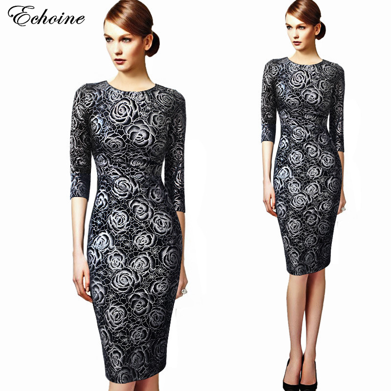 ECHOINE  Flower Floral Print Dresses Womens Elegant Round Neck 3/4 Sleeve Casual Party Evening Pencil Sheath Midi Dress Big Size