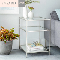 InYard Selected Metallic Gold Silver Nordic Modern Simple Line Glass Stainless Steel Side Table Edge
