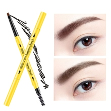 4 Color Double Ended Eyebrow Pencil Waterproof Long Lasting Rotatable Triangle Eye Brow Tattoo Pen Easy to Use