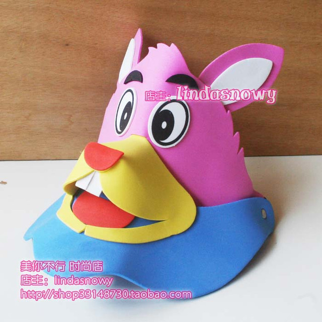 Kindergarten toy animal style hair accessory animal hat child small pink rabbit hat hair accessory