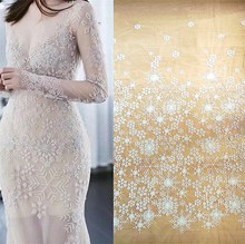 2019 Latest top quality beading lace fabric Ivory color! 1 Yard Snowflake beaded wedding Nice!