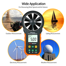 Portable Wind Speed Meter Handheld Anemometer CFM Meter Wind Gauges Air Flow Thermometer with LCD Backlight for Weather Data Collection portable digital anemometer handheld wind speed air flow measuring meter backlight holdpeak hp 866