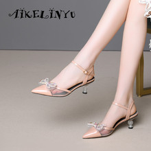 AIKELINYU Women Fashion Summer Sandals Pink New Style Sweet Womens Shoes Genuine Leather Butterfly Crystal Heel