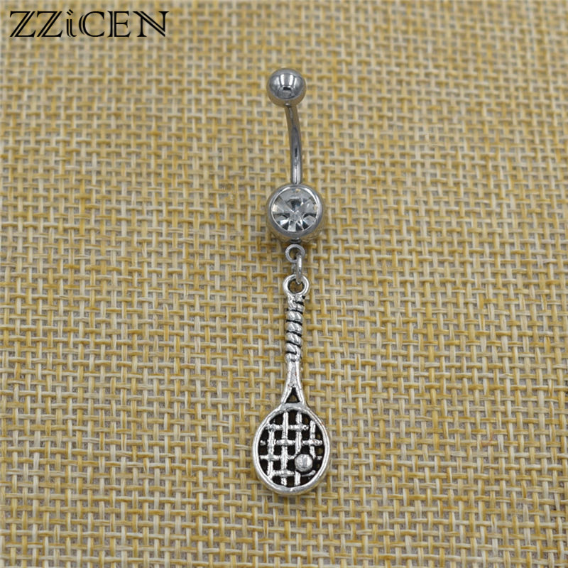 New Vintage Tennis Racket Ball Pendant Bar Piercing Body Jewelry Crystal Belly Button Rings DIY Gifts Sports Accessories