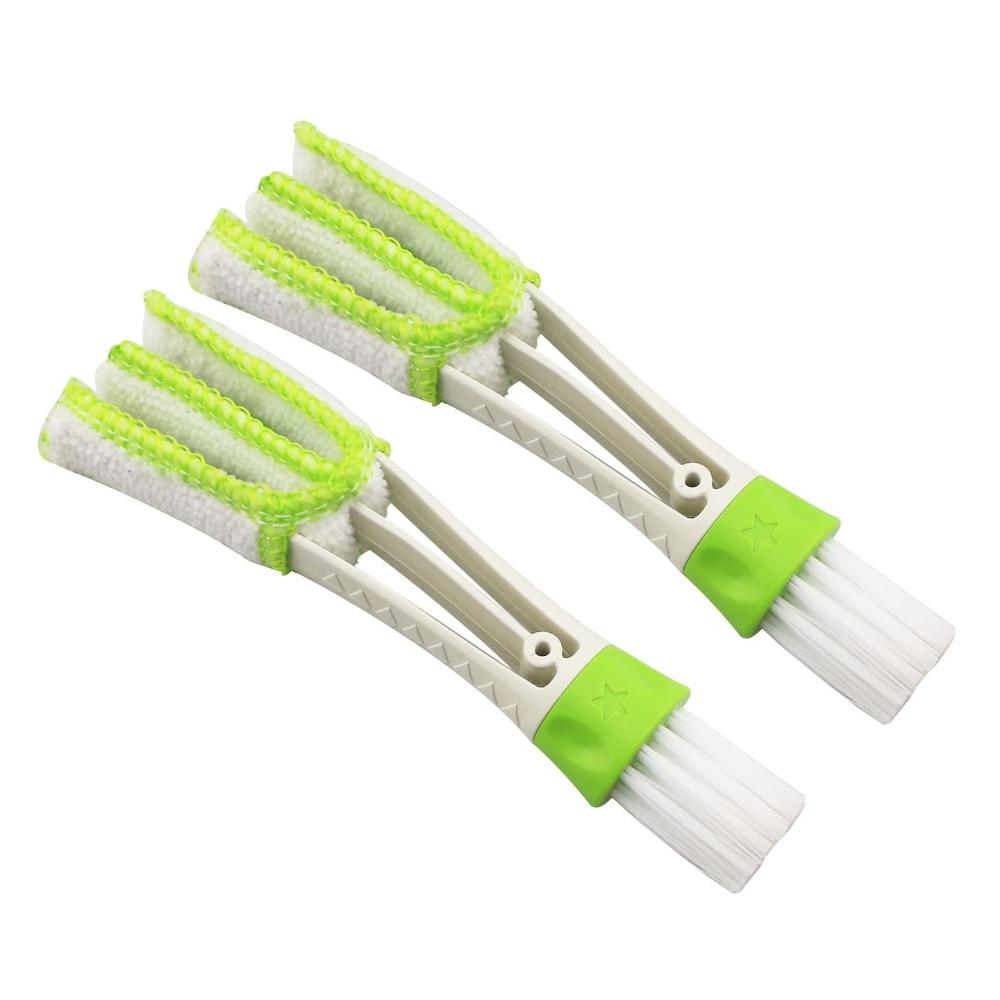 Portable Double Ended Car AC Vent Slit Cleaner Brush Dusting Blinds Keyboard Cleaning for Toyota CRV RAV4 Fortuner Innova CHR(China)