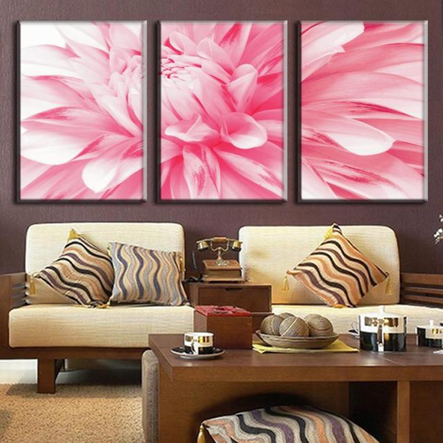3 Pcs/Set Flowers Painting Pink Daisies Canvas Prints Modern Wall ...