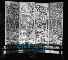 Chinese Boutique collection Tibetan silver carving Fairy celebration figure folding screen