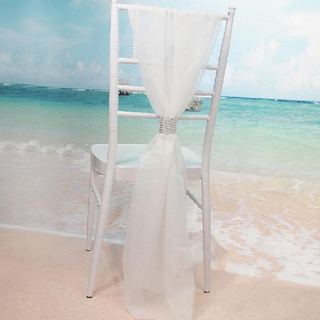 White Chair Sashes Compact Rocking With Rows Diamond Chiffon Delicate Wedding Party Banquet Decorations Covers Accessories Free