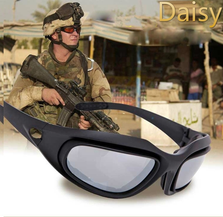 Outdoor Tactical Daisy C5 Goggles Glasses Desert Storm 4 Lens UV400 Protection Sunglasses 9801 outdoor sports cycling uv400 protection pc frame red revo lens sunglasses goggles black