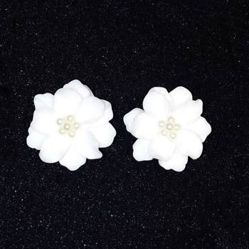 Classics Big White Flower Earrings For Women Fashion Jewelry Party Casual 2018 Holiday Studs Elegant Bijoux Dress Accessories 1