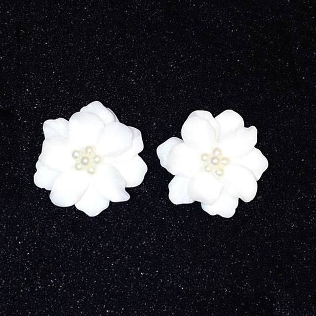 New Fashion Big White Flower Earrings For Women 2017 Gold Plated Jewelry Bijoux Elegant Gift