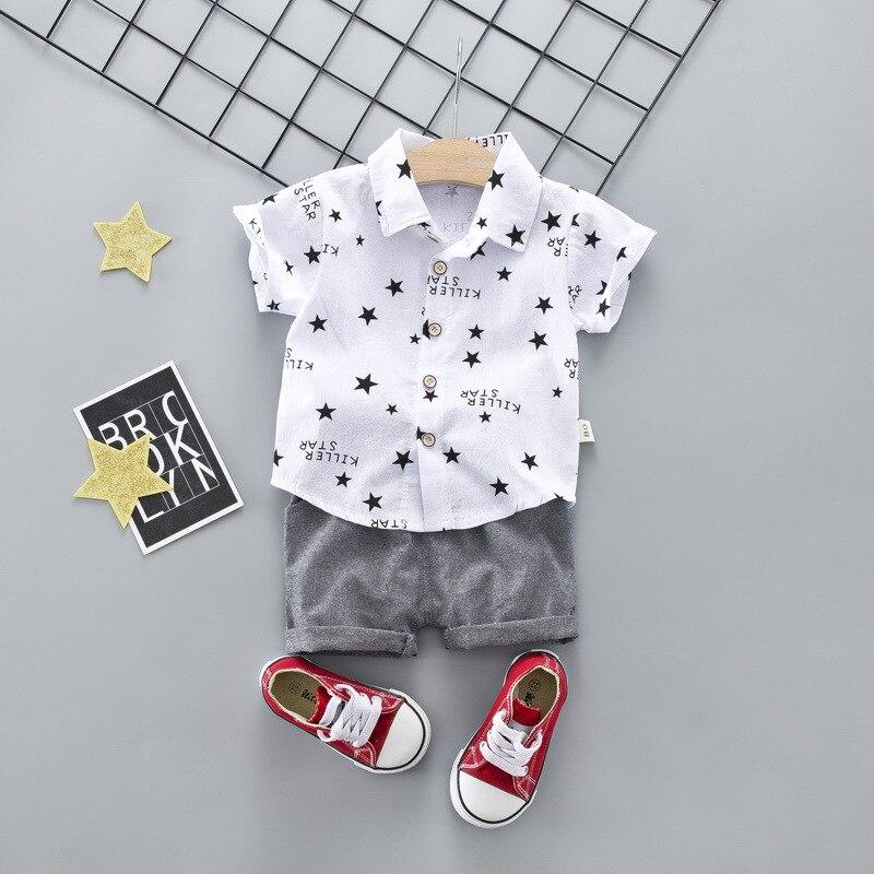 d768b4304 Menino Camisa Branca Estrela Carta Roupas Terno Camisa de Manga Curta  Meninos Terno para a Roupa