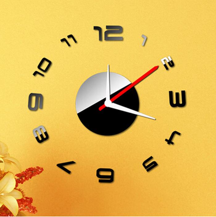 numrique horloge murale diy design moderne horloges relogio parede 3d miroir horloge murale montre reloj pared - Horloge Digitale Murale Salle De Bain