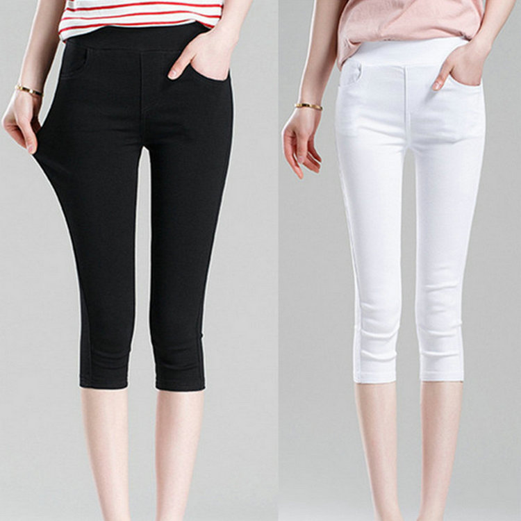 2019 Women's Summer Black Leggings   Pants   Slim Thin Stretch Trousers White Casual   Capris   Pencil   Pants   Plus Size 4XL 5XL 6XL