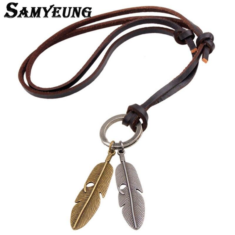 Retro Genuine Leather Men Leaf Friendship Necklaces Metal Rope Chain Neckless Collane Femme Statement Bijoux Male Jewellery