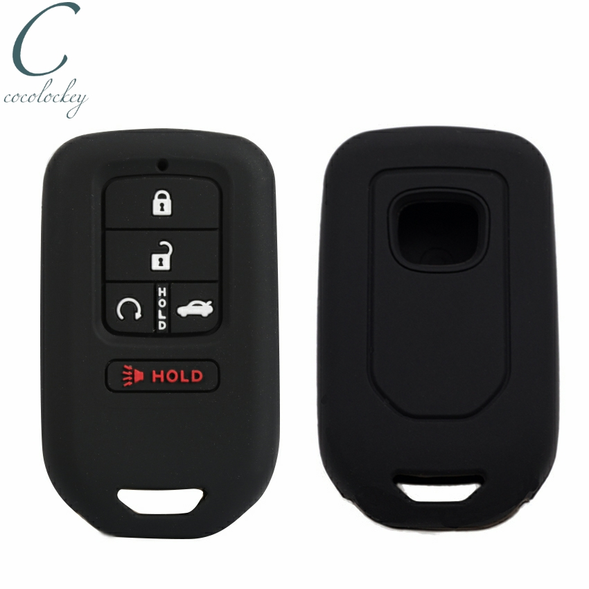 Cocolockey Silicone Car Key Case for Honda Accord Civic Pilot Fit 2015 2016 2017 2018 5 button Remote Key Cover Fob Car Styling new car remote key fob cover case holder protect for honda 2016 2017 crv pilot accord civic fit freed keyless entry car styling