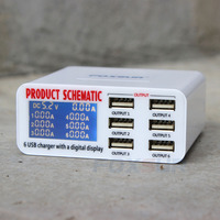 6A Multi USB Charger Quick Charge 6 Ports LCD Dispay Wall Charger Station For Samsung LG