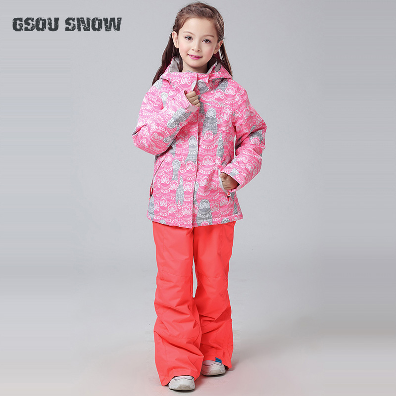 2018 GSOU SNOW Kids Ski Suit Windproof Jacket Pant Waterproof Super Warm Girls Outdoor Sport Wear Skiing Snowboard Cute Style free shipping the new 2017 gsou snow ski suit man windproof and waterproof breathable double plate warm winter ski clothes