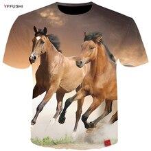 YFFUSHI Plus Size 5XL Male 3D Tops Fashion Animal Series Horse 3d Print Summer Men T-shirt Hip Hop High Quality Tees