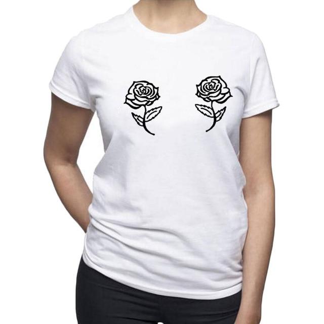 0885cdaacc20e Tumblr Hipster Rose Printing T Shirt Women Funny Rose Bra Graphic Tee Shirt  Fashion Black White Cotton Tshirt 2018 New Design
