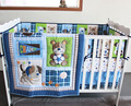3D Lovely dog and bear baby bedding set Quilt Bumper bed Skirt Fitted crib bedding set 100% cotton Blue 7 pieces embroidery