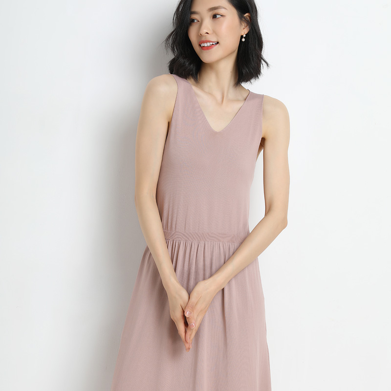 2019hot sale Summer new women's simple and elegant temperament comfortable skin friendly solid color dress