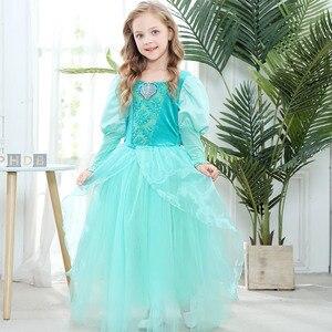 Image 5 - Girls Little Mermaid Princess Ariel Dress Up Dresses Kids Fancy Frock Role Playing Costume Birthday Party Wedding Flower Girl