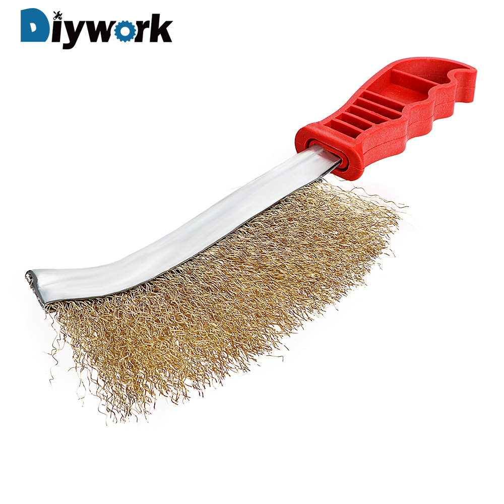 DIYWORK Hand Copper Wire Brush Cleaning Tool Multi Purpose Corrosion Brush Rust Paint Metal Remover