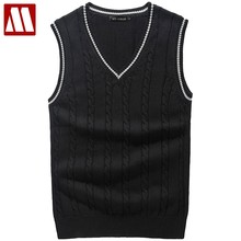 Fashion Brand Clothing Pullover Mens Sweaters V-Neck Sleeveless Vest Slim Fit 100% Cotton Sweater For Men Outwear Clothes Male(China)