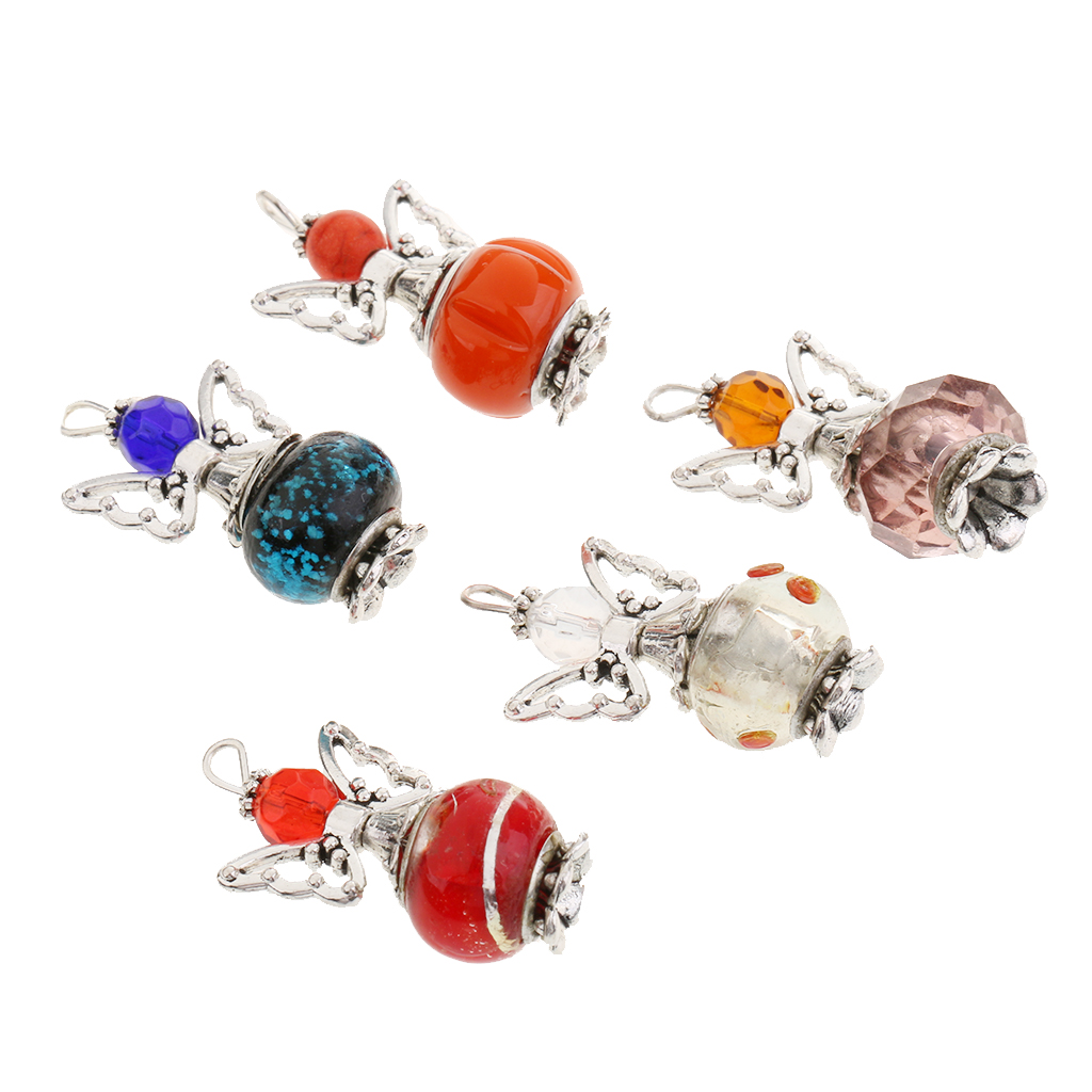 5pcs Mixed Color Angel Charms Pendants Faceted Alloy Acrylic Beads DIY Necklace Making Craft Hanging charms Jewelry Accessories in Pendants from Jewelry Accessories