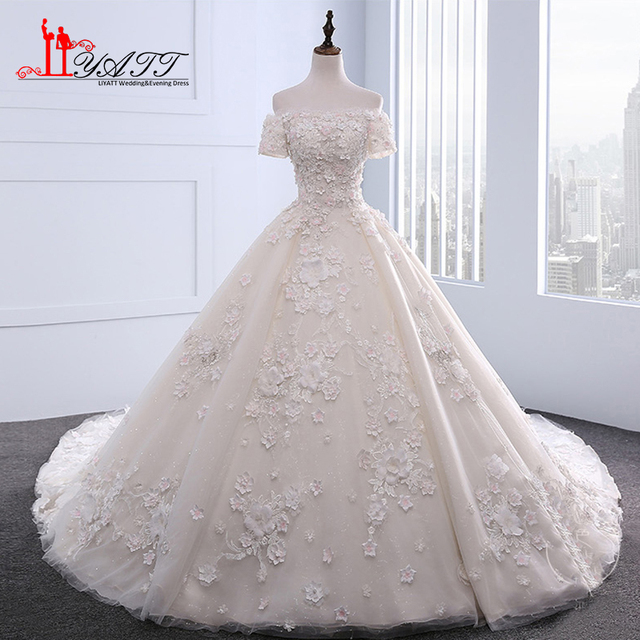 New 2017 Luxury Ball Gown Wedding Dresses Elegant Off The Shoulder Fl Flowers Lace Bridal