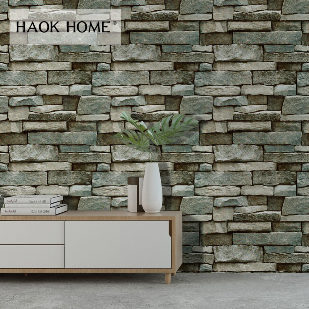 Us 29 9 Haokhome Brick Wallpaper For Walls 3d Self Adhesive Peel Stick Contact Paper Mural Grey Blue For Living Room Kitchen Wall Decor In