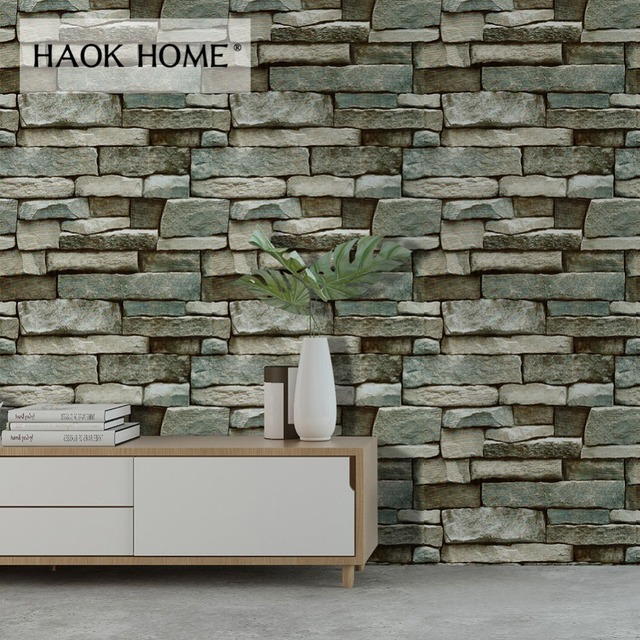 Haokhome Brick Wallpaper For Walls Self Adhesive L Stick Contact Paper Mural Grey Blue