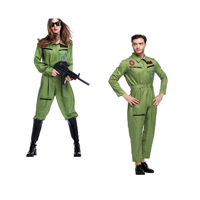 51c1dd862a8d Men s women s 80 s Top Gun Flight Jumpsuit Pilot Aviator Army military Costume  Fancy dress