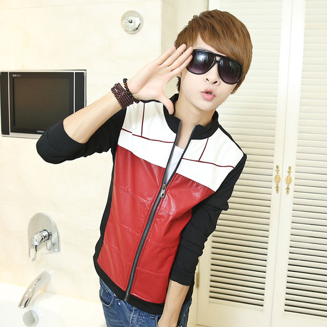Fashion style red black white splice spring PU clothing male teenage motorcycle slim rivet leather jacket mens coat outerwear XL