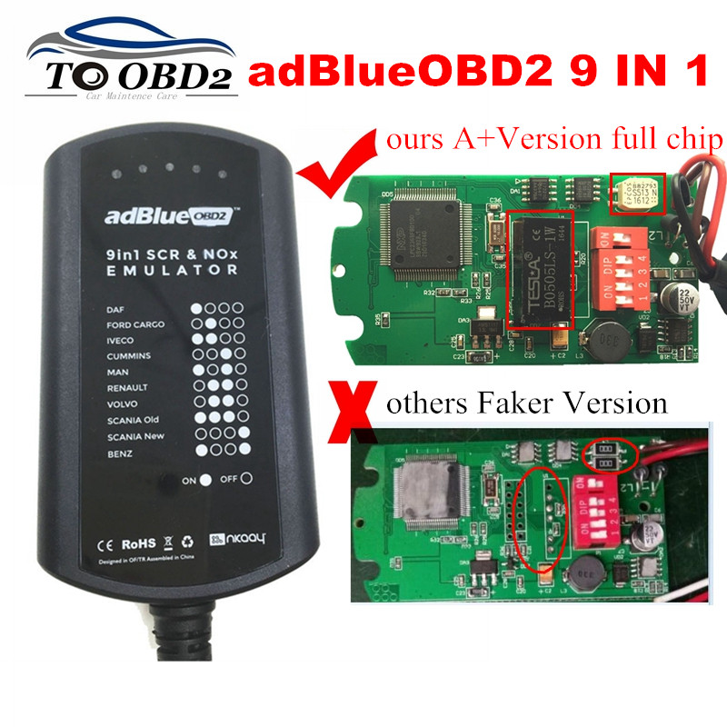 AdBlue Emulator System Box 9 IN 1 For MAN/MB/SCANIA/IVECO/DAF/VOLVO/RENAULT/FORD/CUMMINS AdBlue 9in1 SCR&NOX A+Version Full Chip
