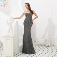 Cool Evening Dress Detachable Wraps Sweetheart Neck Sleeveless Sexy Mermaid Gray Real Pics Backless Zipper Beading Prom Gown