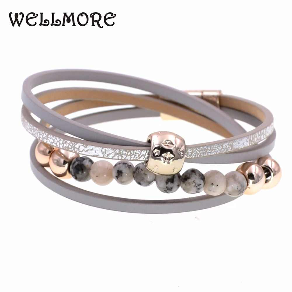 WELLMORE two Layer leather bracelet fashion jewelry beaded bracelets charm bracelets for women Bohemian bracelet wholesale